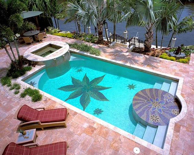 Landscaping With Swimming Pool : Swimming pool mosaicswimming poolbotanical visionsboca raton fl
