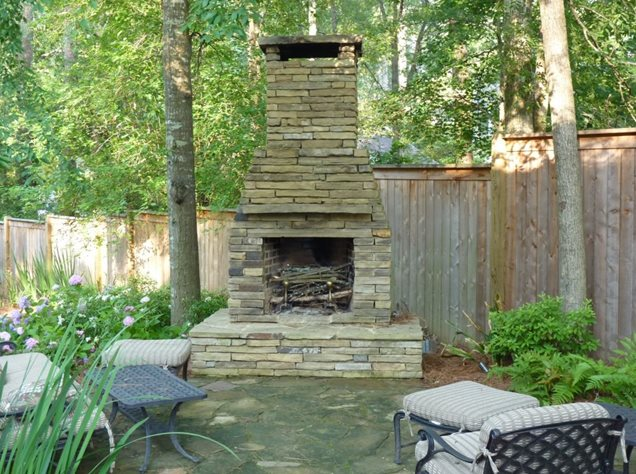 Stacked Stone Outdoor Fireplace Schoggenscapes