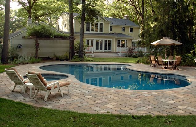 Pool ideas on pinterest pool decks stamped concrete for Traditional swimming pool designs