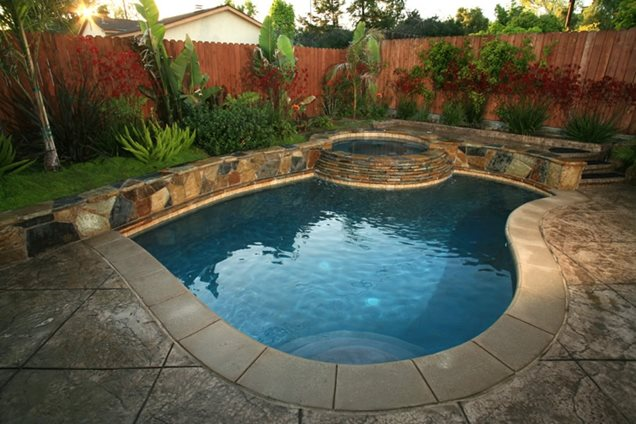 Inground pool designs for small backyards home staging for Pool landscape design