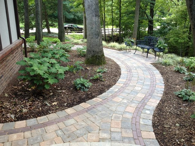 Prices On Landscaping Bricks : Brick paver walkway curved walkwaywalkway and pathmiller