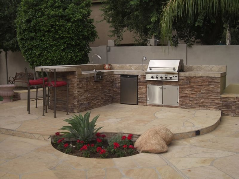 Backyard Cooking Area Arizona Landscaping Desert Crest, LLC Peoria, AZ