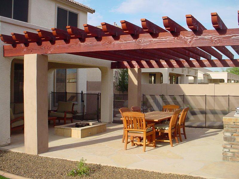 Flagstone, Patio, Fire Pit, Pergola Arizona Landscaping Desert Crest, LLC Peoria, AZ