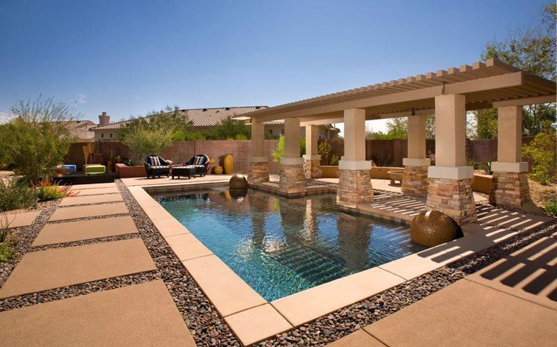 Poolside Pergola Arizona Landscaping Bianchi Design Scottsdale, AZ