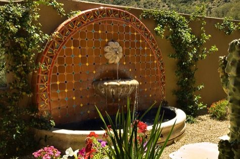 Southwestern Wall Fountain Arizona Landscaping Azul-Verde Design Group, Inc. Cave Creek, AZ