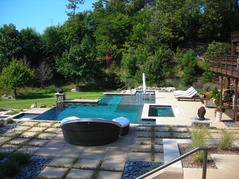 Contemporary Swimming Pool Asian Landscaping Apex Landscape Grand Rapids, MI