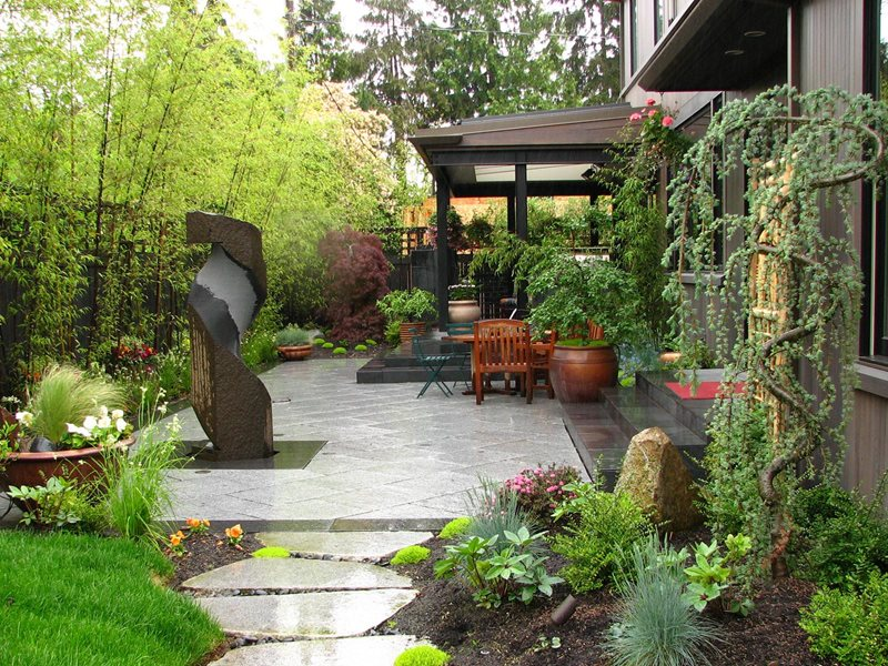Japanese Patio, Bamboo Screen Asian Landscaping Stock & Hill Landscapes, Inc Lake Stevens, WA