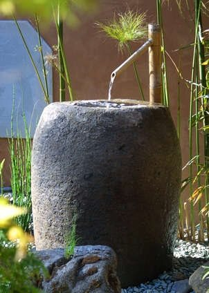 Stone, Basin, Fountain, Bamboo Asian Landscaping Grace Design Associates Santa Barbara, CA
