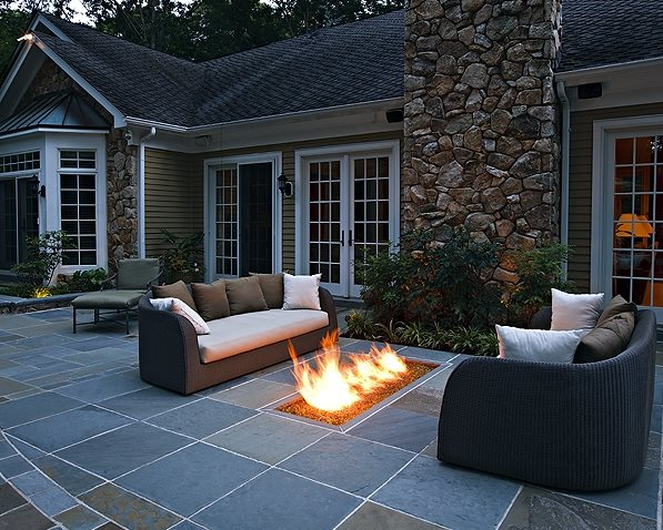 Backyard Gas Fire Feature, Fire Trough Backyard Landscaping Beechwood Landscape Architecture & Construction Southampton, NJ
