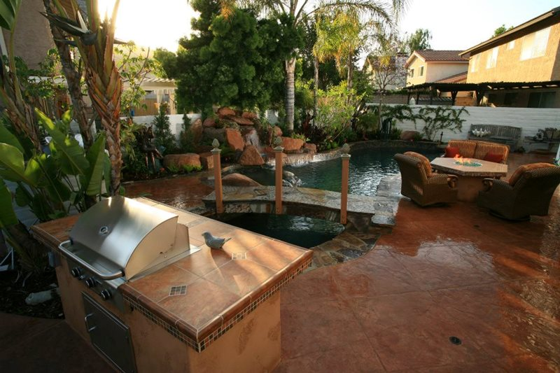 Backyard Living Space, Pool, Grill, Fire Pit Backyard Landscaping Lisa Cox Landscape Design Solvang, CA