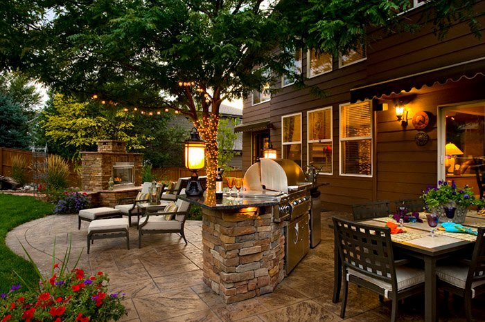 Backyard Outdoor Living, Built In Grill, Fireplace, Stamped Concrete Patio  Backyard Landscaping