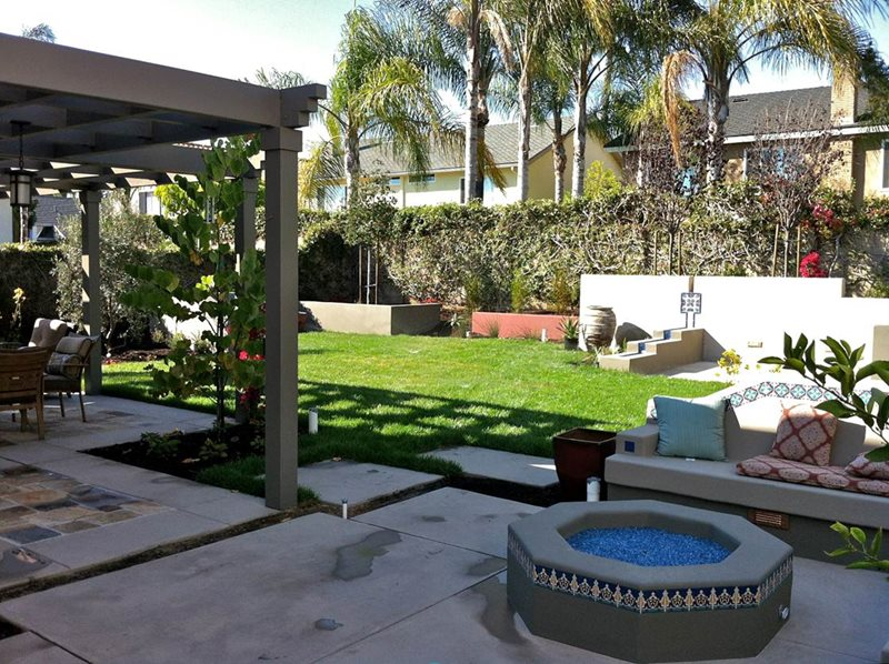 Backyard Patio Cover, Backyard Fire Pit, Backyard Lawn Backyard Landscaping Terry Design Inc Fullerton, CA