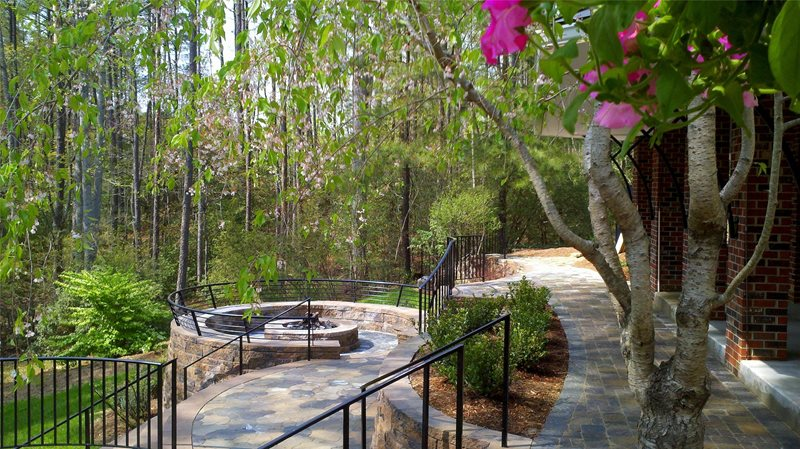 Backyard, Paving, Hardscape, Weeping Cherry, Dwarf Gardenia Test Backyard Landscaping Mid Atlantic Enterprise Inc Williamsburg, VA