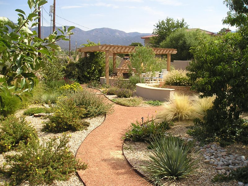 Backyard Xeriscape Garden, Pergola, Fireplace Backyard Landscaping Red Twig Studio Albuquerque, NM