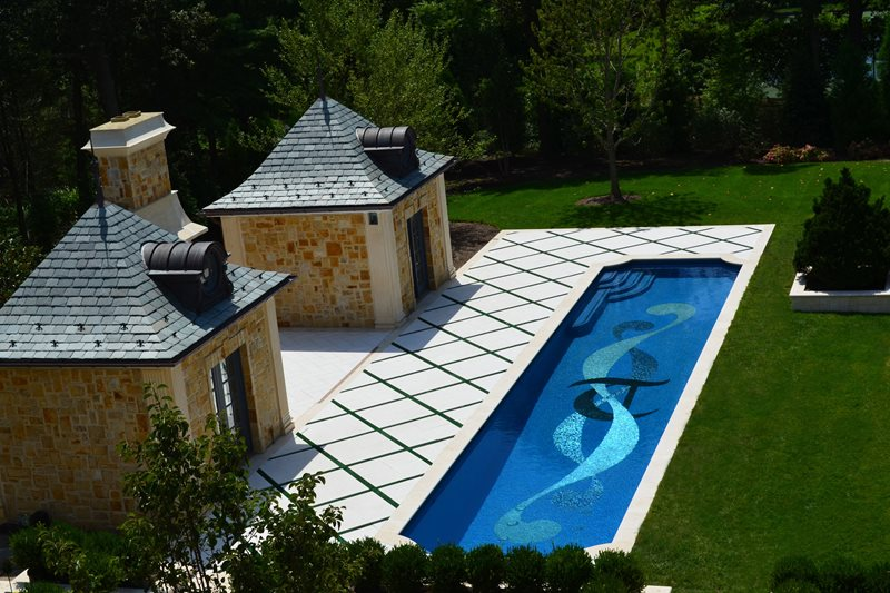 Lap Pool, Mosaic Tile Design Backyard Landscaping Cipriano Landscape Design Mahwah, NJ