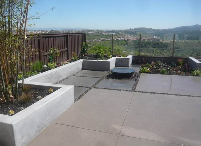 Modern, Concrete, Charcoal, Tan, Fountain Backyard Landscaping Quality Living Landscape San Marcos, CA