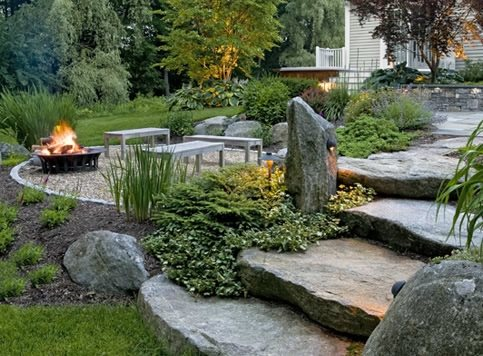 Natural Backyard, Rustic Backyard Backyard Landscaping Charles C Hugo Landscape  Design South Berwick, ME