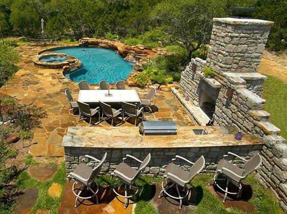 Outdoor Living Design, Outdoor Dinning Room Backyard Landscaping Land Design Boerne, TX