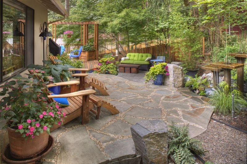 Rustic Garden, Container Plantings, Garden Decor, Adirondack Chairs,  Flagstone, Water Feature