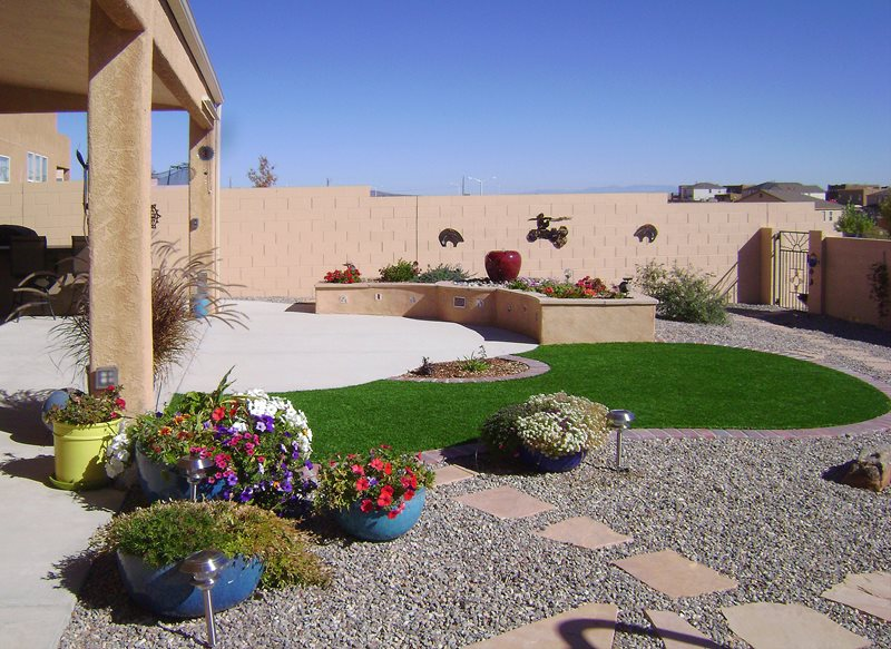 Small Artifical Lawn, Small Backyard Lawn Backyard Landscaping WaterQuest, Inc. Albuquerque, NM