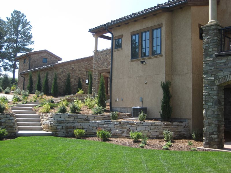 Tuscan, Backyard, Stone, Walls Backyard Landscaping Accent Landscapes Colorado Springs, CO