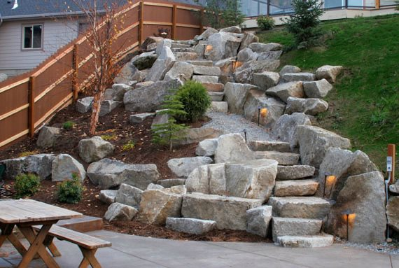 Boulder Stairs, Stair Lighting Boulder Copper Creek Landscaping, Inc. Mead, WA