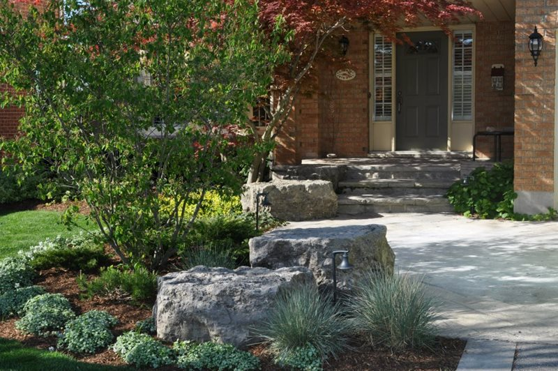 Front Yard Boulders Boulder Renaissance Landscape Group Inc Puslinch, ON