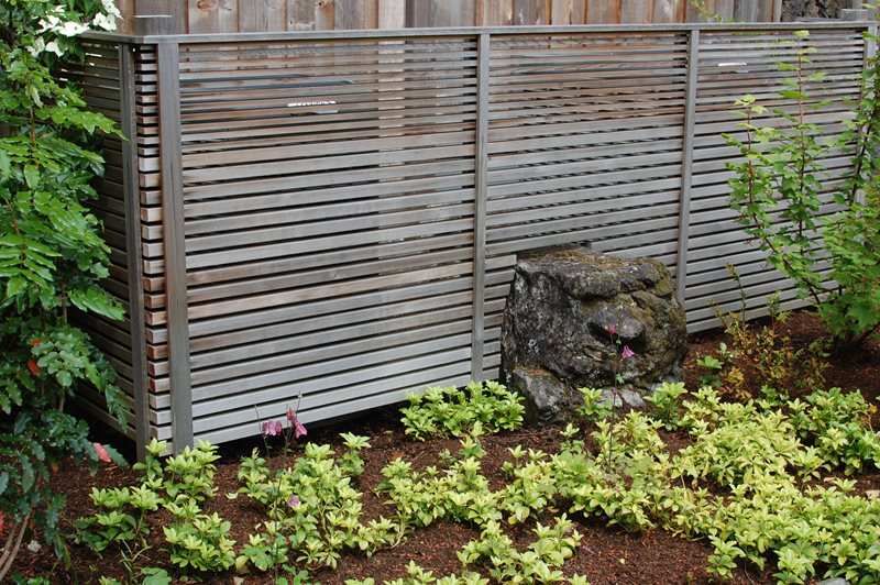 Horizontal Fence, Modern Fence, Japanese Fence Boulder Ross NW Watergardens Portland, OR