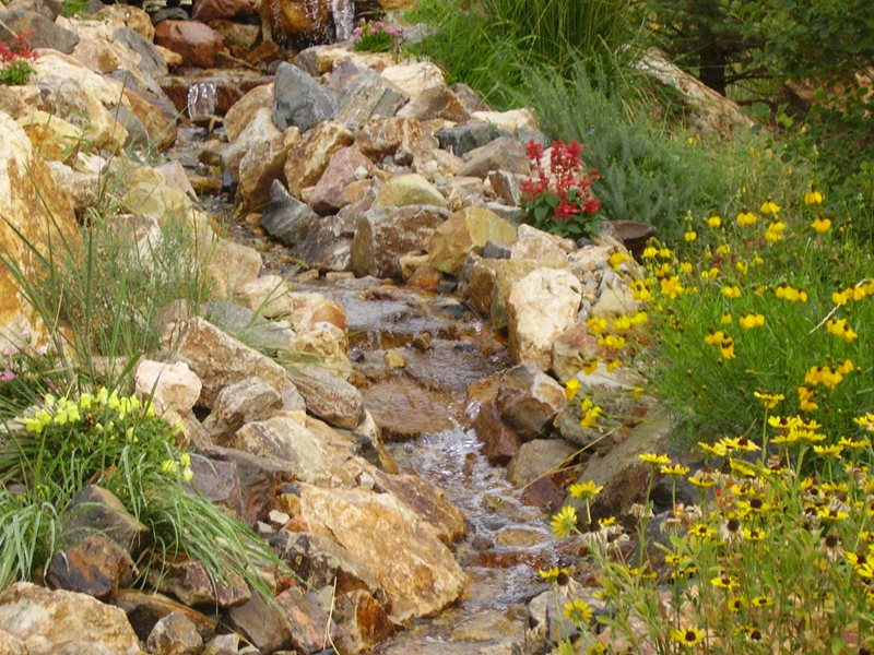 Natural Water Feature, Waterfall Landscaping Boulder Stone Falls Landscaping Lakewood, CO