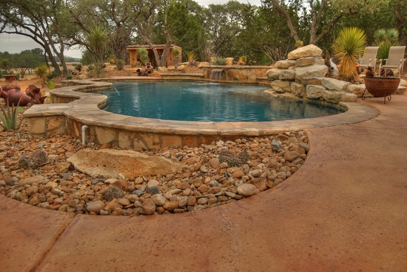Southwestern Pool, Desert Swimming Pool Boulder Landscaping Network Calimesa, CA