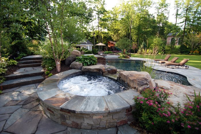 Spa Stone Coping, Dark Bottom Spa Boulder Cipriano Landscape Design Mahwah, NJ