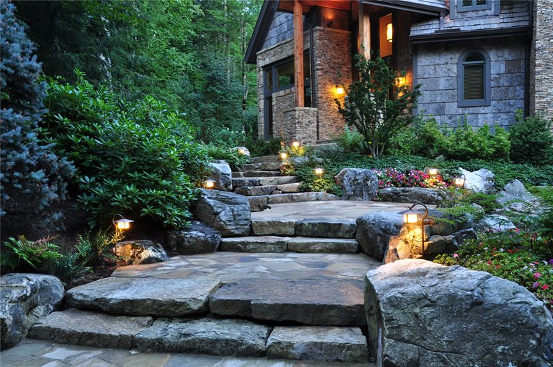 Stone, Boulders, Path, Front, Entrance, Lighting Boulder Greenleaf Services Inc. Linville, NC