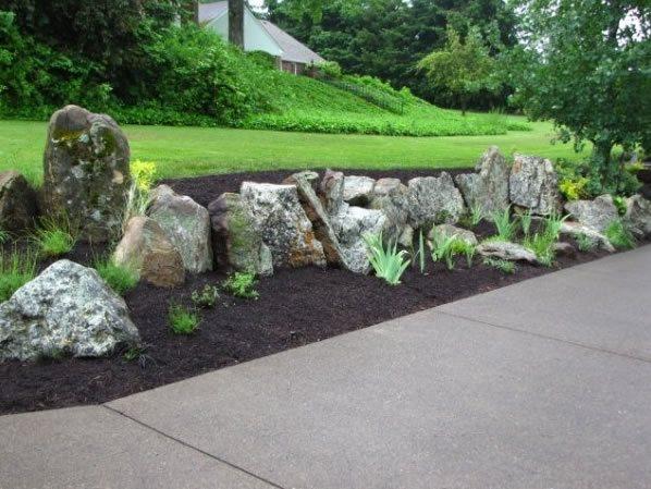 Stone Retaining Wall, Natural Retaining Wall Boulder Woody's Custom Landscaping Inc Battle Ground, WA