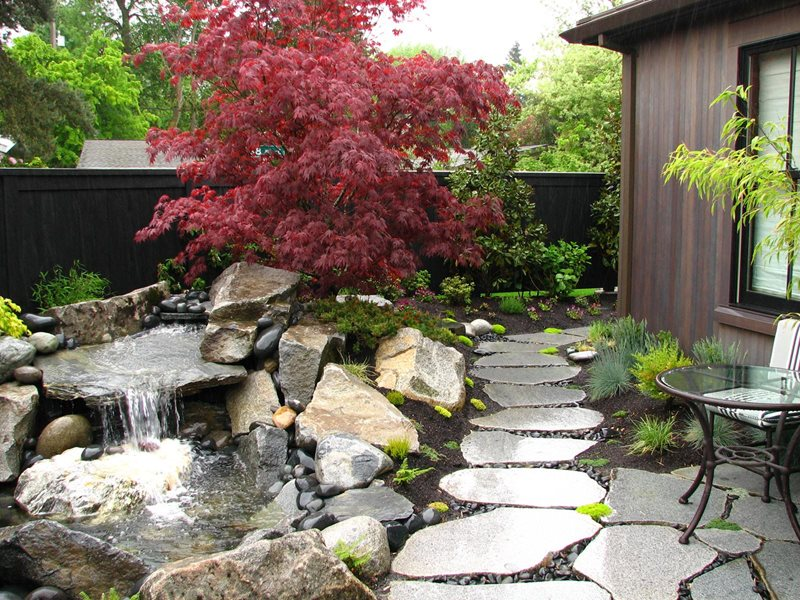 Stone Waterfall, Boulder Waterfall, Front Yard Waterfall Boulder Stock & Hill Landscapes, Inc Lake Stevens, WA
