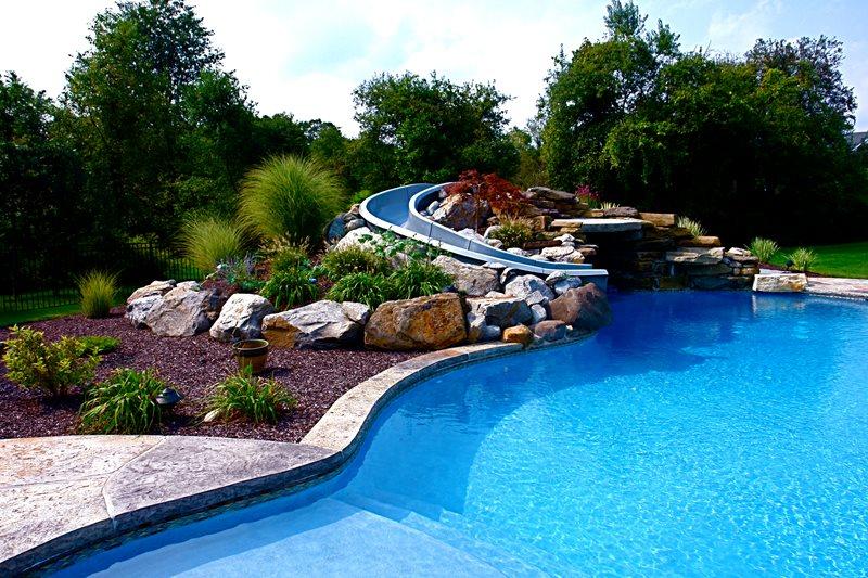 Waterslide, Pool Landscaping Boulder Lehigh Lawn & Landscaping Poughkeepsie, NY