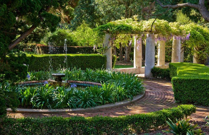 Brick Circle Path, Water Feature, Pergola Brick Hardscaping Grace Design Associates Santa Barbara, CA