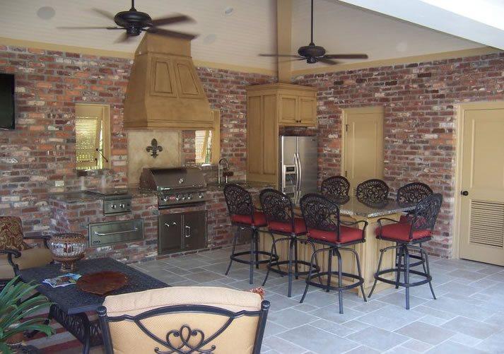 Brick Outdoor Kitchen, Brick Wall Veneer Brick Hardscaping Angelo's Lawn-Scape Of Louisiana Inc Baton Rouge, LA