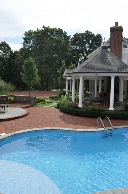 Brick Pool Deck, Traditional Brick Hardscaping Milieu Design Wheeling, IL
