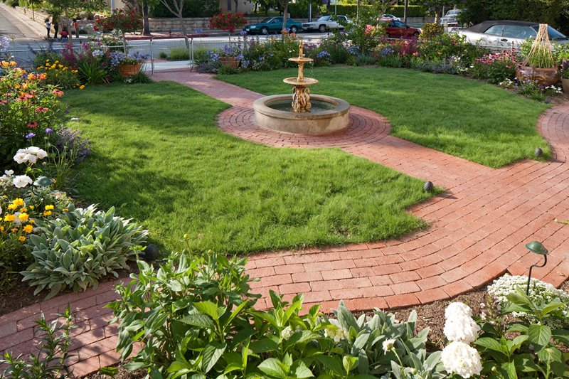 Brick Walkways, Brick Circle Brick Hardscaping Grace Design Associates Santa Barbara, CA