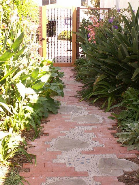 Custom Brick Path, Whimsical Brick Path, Heart Inlays Brick Hardscaping Grace Design Associates Santa Barbara, CA