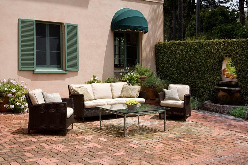 Large Brick Patio, Aged Brick Brick Hardscaping Grace Design Associates Santa Barbara, CA
