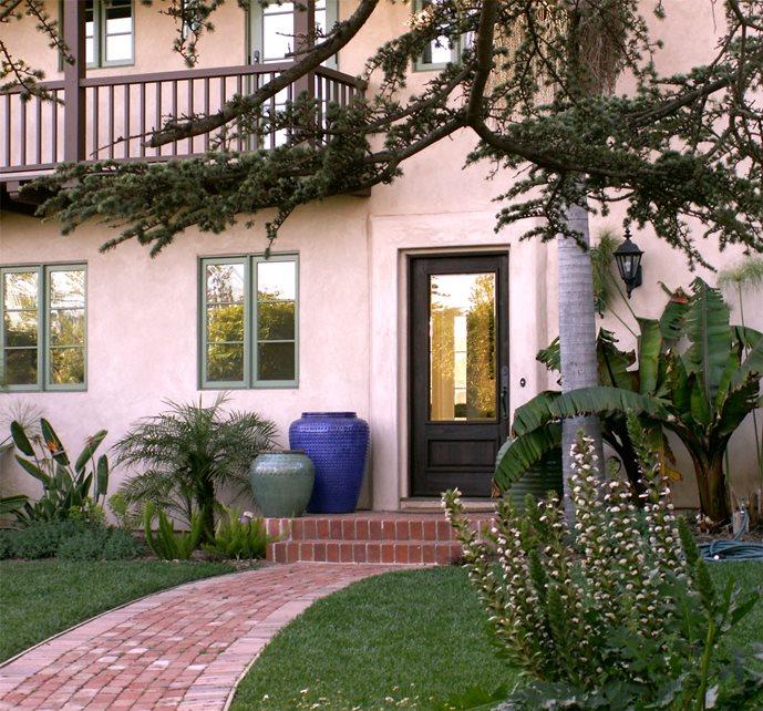 Long Walkway In Front Yard, Brick Walkway Brick Hardscaping Grace Design Associates Santa Barbara, CA
