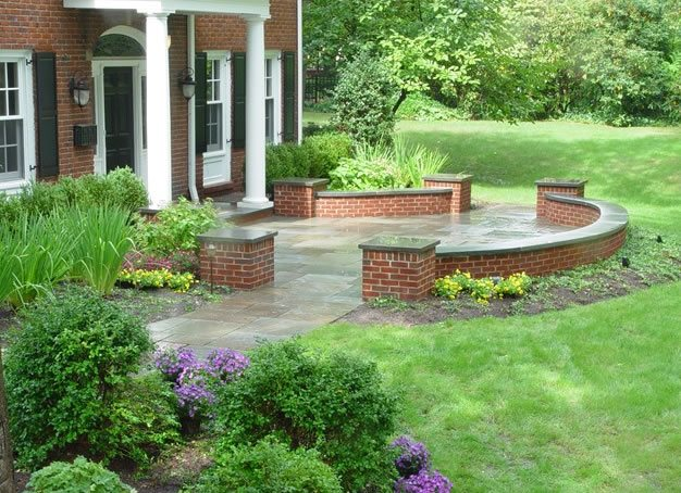 Brick hardscaping bernardsville nj photo gallery for Front garden brick wall ideas