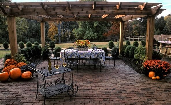 clay brick brown brick brick patio running bond brick patio landscape aesthetics bernardsville - Brick Patio Designs