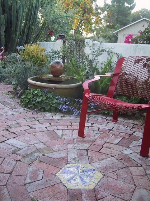 Custom Brick Work, Brick Design, Brick Inlay Brick Patio Grace Design Associates Santa Barbara, CA