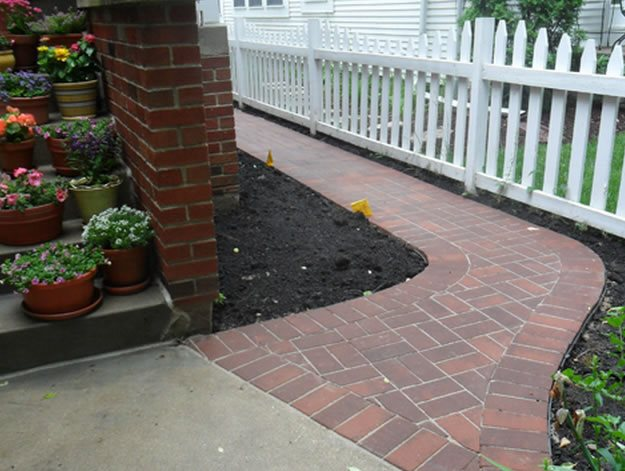 Brick Walkway, Basketweave Brick Walkway Milieu Design Wheeling, IL