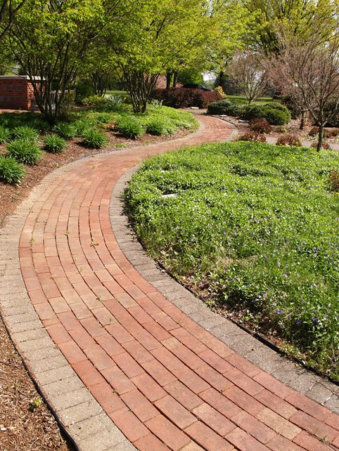 Curved Running Bond Path, Soldier Course Border Brick Walkway Landscaping Network Calimesa, CA