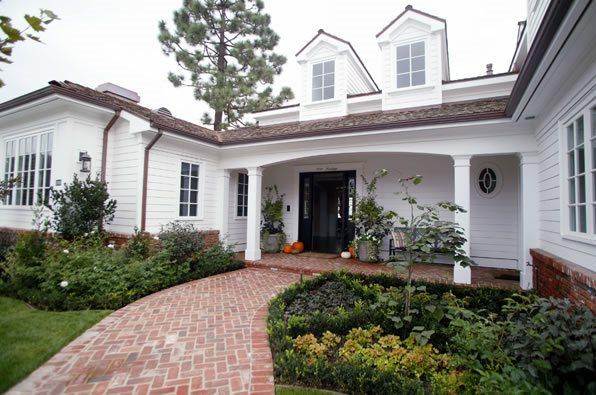 Curved Walkway, Red Brick Walkway, Herringbone Walkway Brick Walkway Garden Studio Design Newport Beach, CA