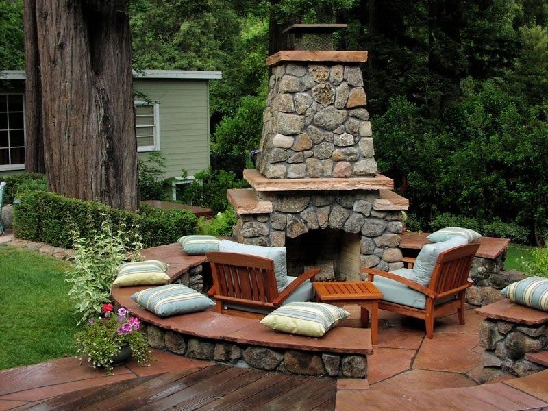 Outdoor Fireplace Seating Built-In Seating Michelle Derviss Landscape Design Novato, CA