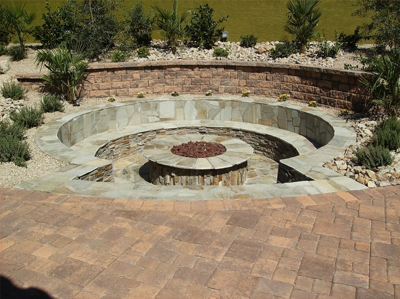 Round, Stone, Sunken, Benches, Gas Built-In Seating Newtex Landscape, - Built-In Seating - Henderson, NV - Photo Gallery - Landscaping Network